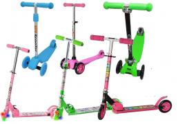 Children's scooters are two-wheeled and three-wheeled