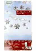 """M19-570007, Новорічний набір наклейок 3D """"Сніжинки"""", універсальний, чорний-білий"""