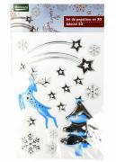 M19-570008, Новогодний набор наклеек 3D , универсальное, серебристый-белый